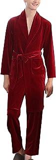 Pajama Set Mens Fall Winter Long Sleeve V Neck Comfortable Sizes Solid Color Velvet Nightwear Men Fashion Casual Comfortab...