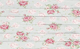 Leowefowa 5X3FT Floral Backdrop Shabby Chic Flowers on Nostalgia Stripes Wood Floor Backdrops for Photography Interior Wall Decoration Wallpaper Happy Mother's Day Photo Background Studio Props