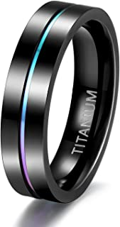 TIGRADE 5mm 7mm 9mm Rainbow Titanium Ring Colorful Thin Groove Wedding Band Couple Rings Size 3.5-14.5