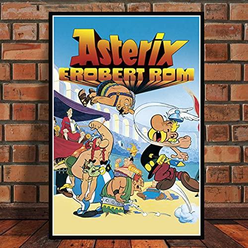 Weiteng Asterix France Classic Comic Strip Film Collage Póster Divertido e impresión en Lienzo Pintura de la habitación Decoración del hogar 50x70cm (19.68x27.55 in) Q-804