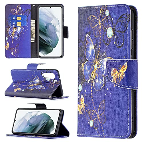 HSRWGD Galaxy S21 FE Funda tipo cartera para Samsung S21 FE Girly Flip Case Anti Resistente Mariposa Bumper Cover TPU Piel Protectora para Mujeres Niñas