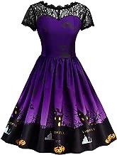 TWGONE Women Halloween Short Sleeve Retro Lace Vintage Dress A Line Pumpkin Swing Dress Cosplay Suit