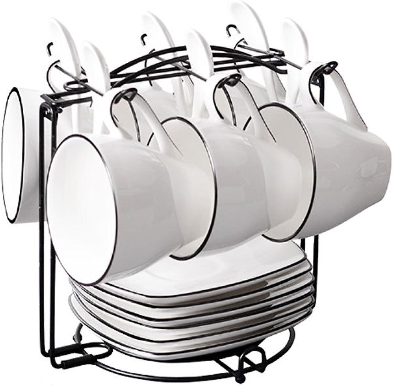 Ensemble de tasse à café en céramique de style nordique, un ensemble de 2-6 pièces avec une cuillère à vaisselle, ensemble de tasse à café Creative Party Home Office simple, blanc (Taille   C)