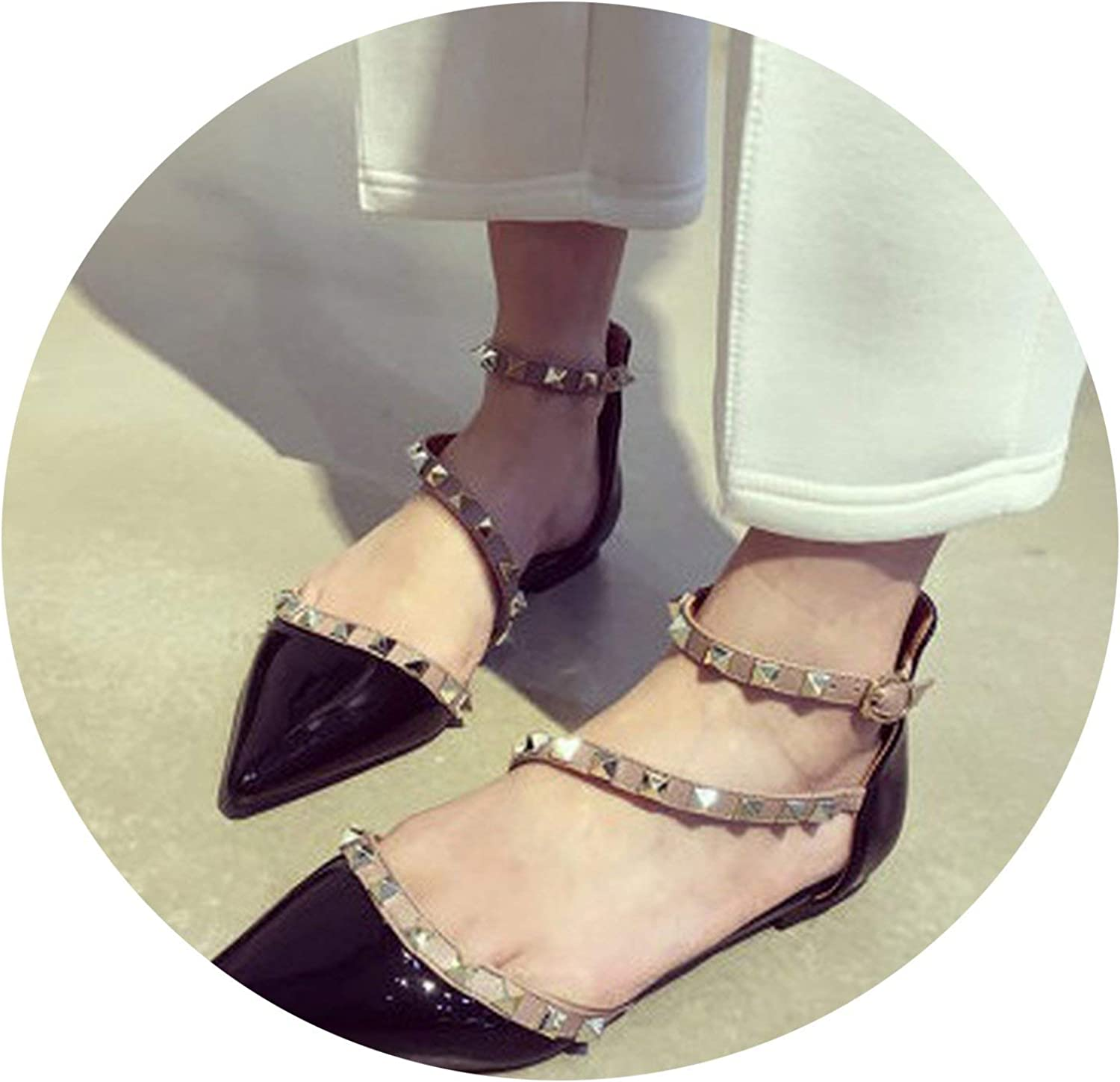Jhdnhse Lady's Pointed Toe Big Size 3 46 Buckle Strap Cover Heel Patent Leather Flats Sandals with Rivets
