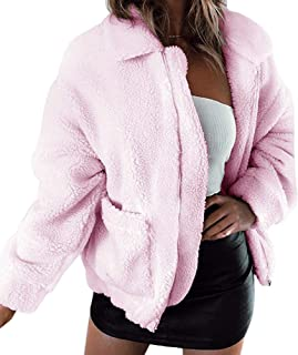 Kiss me Womens Shaggy Jacket, Casual Fashion Cardigan Coat Lapel Fleece Fuzzy Jacket Faux Shearling Jacket