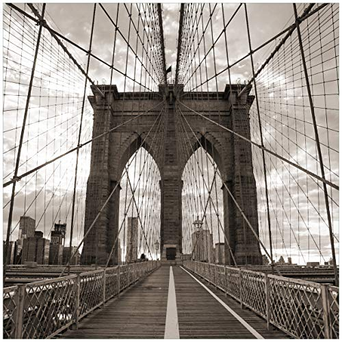 Wallario Glasbild Brooklyn Bridge in New York - 50 x 50 cm in Premium-Qualität: Brillante Farben, freischwebende Optik