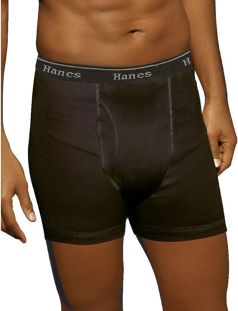 Hanes Men's No Ride Up Boxer Briefs Comfort Waistb& 5-Pack_Blk/Grey_M