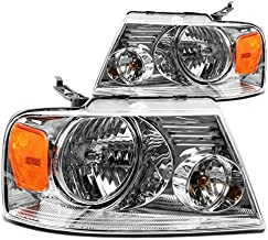 DNA Motoring HL-OH-F1504-CH-AM Chrome Amber Headlights Replacement For 04-08 F150 Mark LT