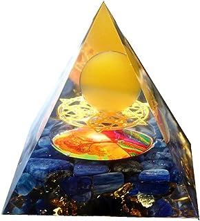 ZhaoXin Chen Handmade Orgonite Pyramid 60MM Yellow Agate Sphere Kyanite Crystal Orgone Tree of Life Home Decor