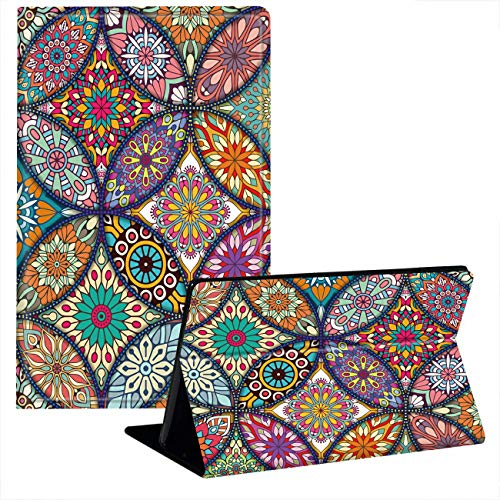 JStar Case Compatible with Amazon Kindle Fire HD 10 Tablet (7th Generation and 9th Generation,2017 and 2019 Release), Smart Folding Stand Cover with Auto Wake/Sleep for 10.1 Inch,Mandala Floral