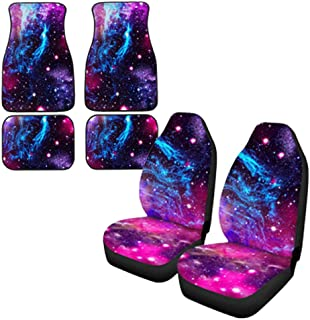 INSTANTARTS Men Women Galaxy 4PCS Non Slip Washable Car Floor Mats + 2PCS Universal Fit Seat Protector Cushions