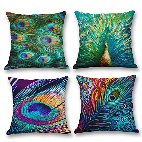 Hangood Cotton Linen Throw Pillow Case Cushion Covers Peacock Feather Set of 4pcs 45cm x 45cm