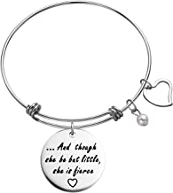 Engraved Message and Though She be but Little She is Fierce Inspirational Bracelet Women Jewelry