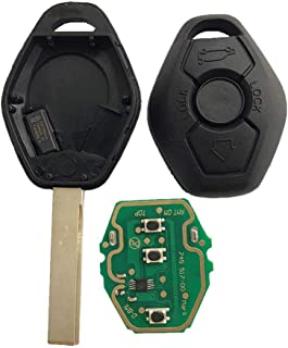 Dudely New Uncut Chip Chip ID44 315MHz 433MHz Keyless Entry Remote Control Car Key Replacement for BMW LX8 FZV Z4 X 3 X5 E46 Series 3 5 6 7 Z3(Include Electronic,Battery and Chip)