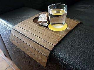 Mini tavolino laterale da bracciolo divano in legno con sottobicchiere e porta snack personalizzabile noce scuro e giallo ...