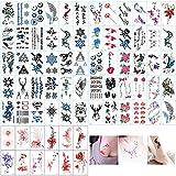 Huture - Tatuajes temporales para mujer, 90 hojas, resistentes al agua, tatuajes temporales, para espalda, piernas, brazos, piernas