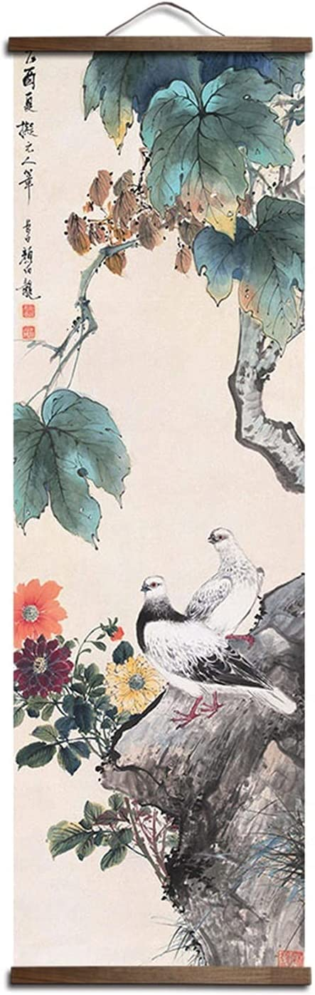 PAOMIAN Custom Chinese Style Special Many popular brands price for a limited time Green Dec Animal Bird Plants Canvas