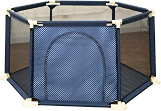 WJSW Hexagon Baby Fabric Playpen Foldable Portable Room Divider Child Kids Barrier Expandable Fence Blue Diameter 59  70 8
