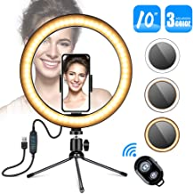 """10"""" Selfie Ring Light,Gugusure Desktop LED Ring Light with Stand Tripod for Makeup & YouTube Video, LED Camera Light with Cell Phone Holder, Mini Dimmable Lamp with 3 Light Modes & 11 Brightness Level"""