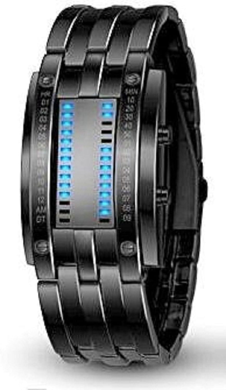 Pappi-Haunt - Reloj digital con cadena de color negro metálico con diseño único para niño, hombre