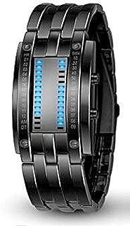 Pappi-Haunt Unique Designer Stylish Metallic Black Chain Led Bracelet Digital Watch for Boy, Men