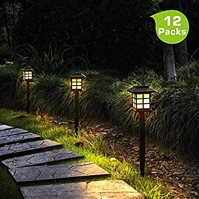 Otdair Solar Path Lights Outdoor - Waterproof Solar Pathway Lights Outdoor, LED Warm Lights Outdoor for Yard, Garden, Path, Landscape, Patio, Walkway, 12 Pack