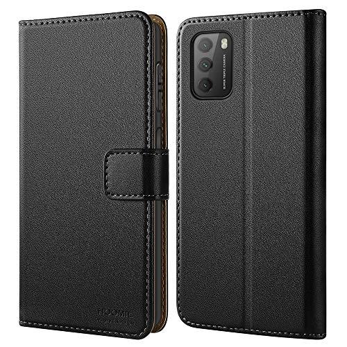 HOOMIL Handyhülle für Xiaomi Poco M3 Hülle Leder Tasche Flip Hülle Schutzhülle Schwarz