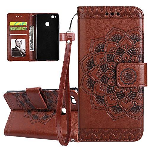 ISAKEN Compatibile con Huawei P9 Lite Custodia Cover, Libro PU Pelle Wallet Cover Flip Portafoglio Protezione Custodia con Supporto di Stand/Carte Slot/Strap[Shock-Absorption], Fiori: Marrone