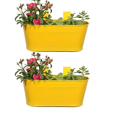 TrustBasket Oval Planter Set of 2 Yellow Color 12 * 7 inches