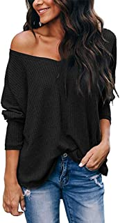 LuckyMore Women's Casual Off Shoulder Tops V Neck Waffle Knit Shirt Batwing Sleeve Loose Pullover Sweater