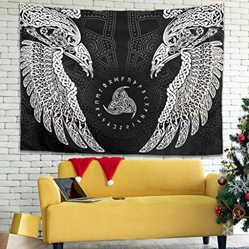 Huginn y almendra celta, cuervos vikingos, mitología nórdica, tapiz, mandala, gobelin, retro, manta de pared, diseño de playa 200x150cm blanco