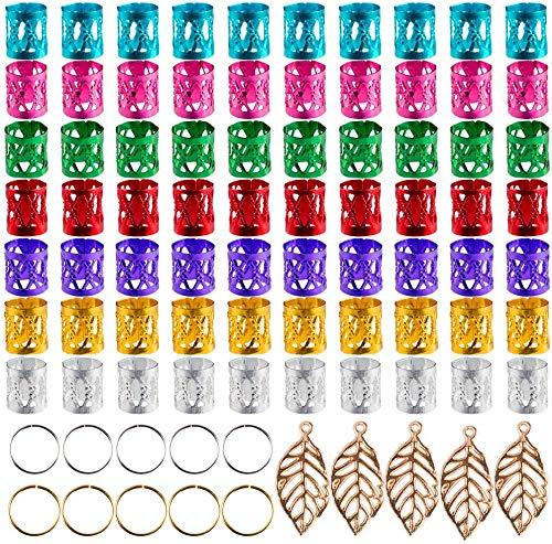 XDLink 150 pièces Dreadlocks Menottes de cheveux en métal Perles de tressage de cheveux Anneaux de tresse de cheveux en aluminium pour accessoire de cheveux, couleurs assorties