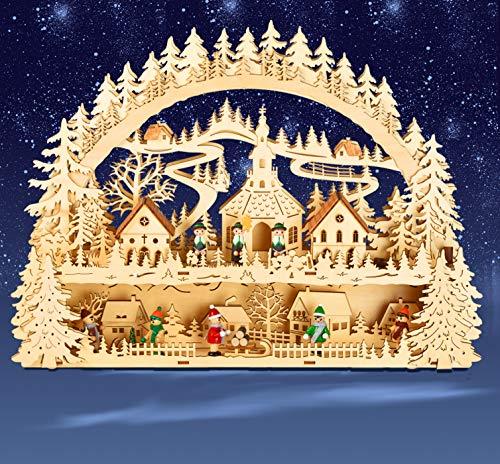 yanka-style LED – Arco Luminoso portacandele Chiesa di Seiffen e Corte in Legno con piedistallo Integrato/Base ca. 41 cm di Altezza trasformatore Possibile Natale avvento Regalo Decorazione (93541)