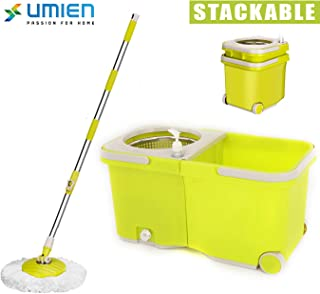 Umien Spin Mop and Bucket System – 360° Self Wringing Spinning Mop with Stackable Bucket