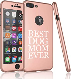 360° Full Body Thin Slim Hard Case Cover + Tempered Glass Screen Protector for Apple iPhone Best Dog Mom Ever (Rose Gold, for Apple iPhone 7 / iPhone 8)