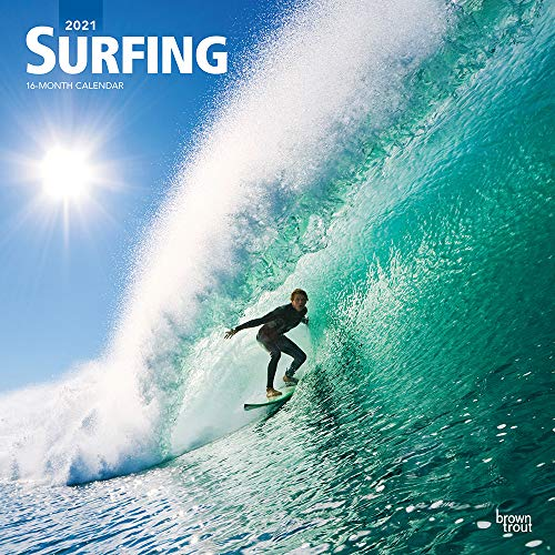Surfing 2021 12 x 12 Inch Monthly Square Wall Calendar, Ocean Sea Beach Wave Sport