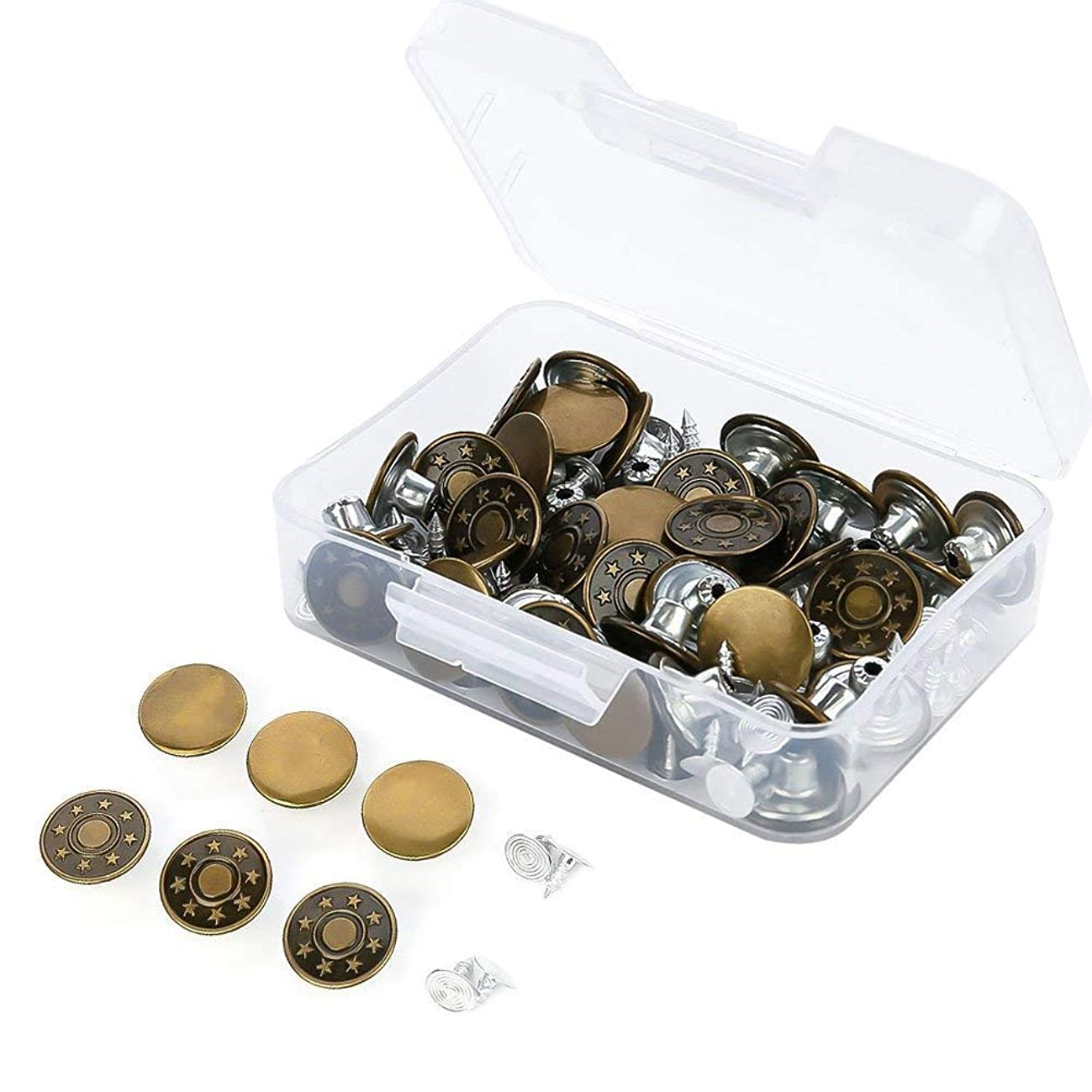 Feihoudei 50 Sets Jeans Buttons Tack Metal Button Snap Buttons Replacement Kit with Rivets and Plastic Storage Box, 2 Styles, Bronze