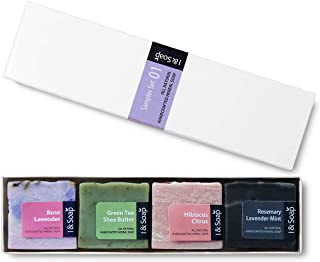 I & SOAP, 4pcs Mini Sampler Set (01) - Guest Soap - Travel Soap - 100% Natural & Organic Materials - Handcrafted Herbal Soap - Gentle and Effective Facial, Hand and Body Cleansing Soap Bars.