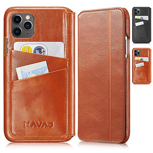 KAVAJ Case Compatible With Apple iPhone 12 Pro Max 6.7' Leather - Dallas - Cognac Brown Wallet Folio Cover with card holder
