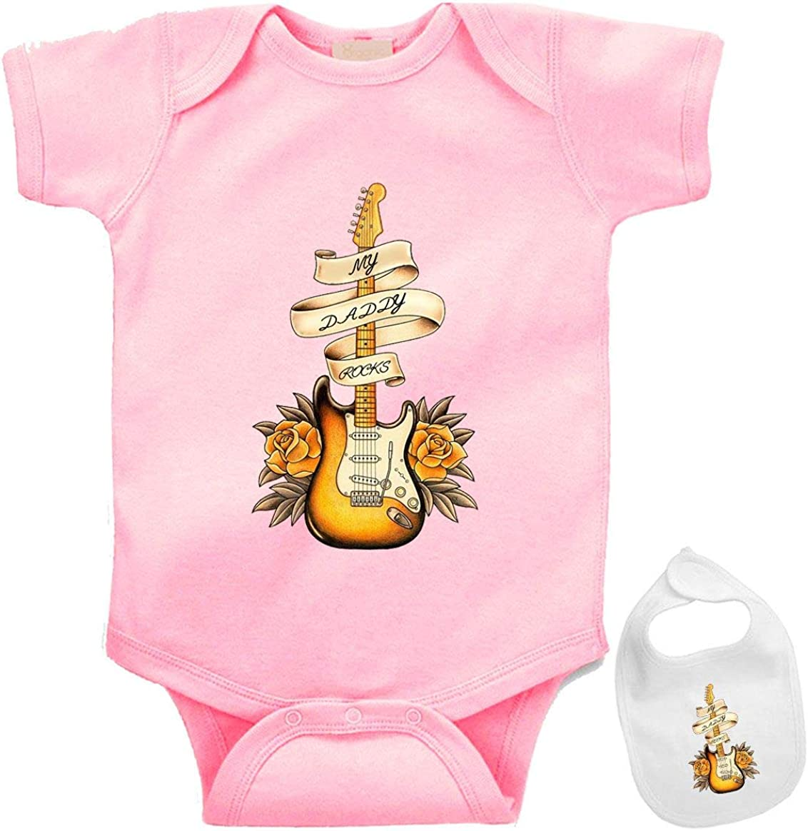 My Deluxe Daddy Rocks Recommendation -Cute Music Guitar Themed Infant On Baby Bodysuit