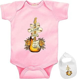 My Daddy Rocks -Cute Music Guitar Themed Infant Baby Bodysuit Onesie & bib Set