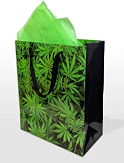 Gift Bag with Tissue, Large Size, Marijuana Bud and Leaves Print, with Cotton Handles, for Christmas, Holiday, Birthday, Wedding, Bachelor, and Bachelorette Occasions