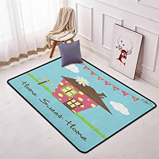Home Sweet Home 3D Printed Round Carpet Cozy Town House with Polka Dots on Green Grass with Sign and Floral Flags for Partial Areas W31.5 x L59 Inch Multicolor