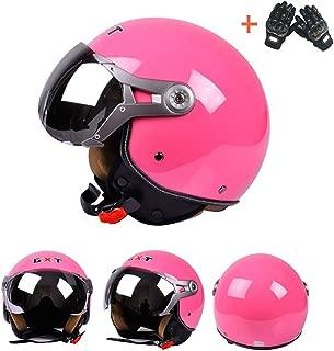 Anonca Retro Harley Moto Helmet Moped Custom Motorbike Chopper Cruiser Half Poilt Bobber Motorcycle 3/4 Helmet Adult Men Women Windproof DOT Approval,Pink,XL