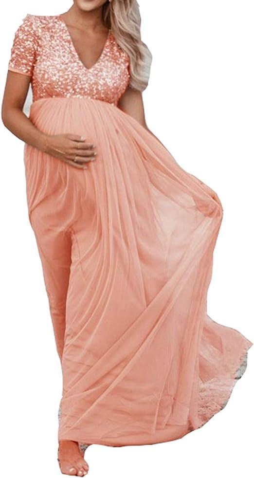 Arbres Umstandskleid Festlich Hochzeit Schwangere Pailletten Abendkleid Amazon De Bekleidung
