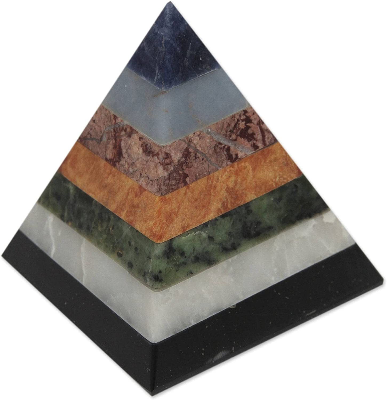 NOVICA Positive Spirituality Gemstone Pyramid