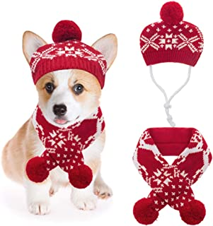 Mihachi Christmas Dog Costumes Hat Scarf Set Knit Snowflake Reindeer Print 2Pcs Winter Warm Clothes for Small Dogs Cats Red White