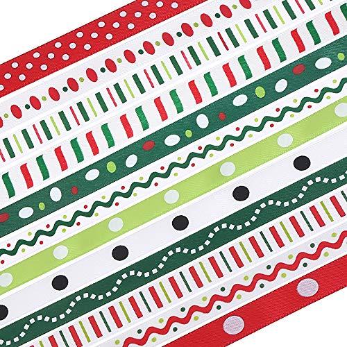 "Christmas Ribbon, 24 Yards 0.4"" Grosgrain Ribbons Xmas Polyester Ribbons for Gift Wrapping Crafts Decoration Holiday"
