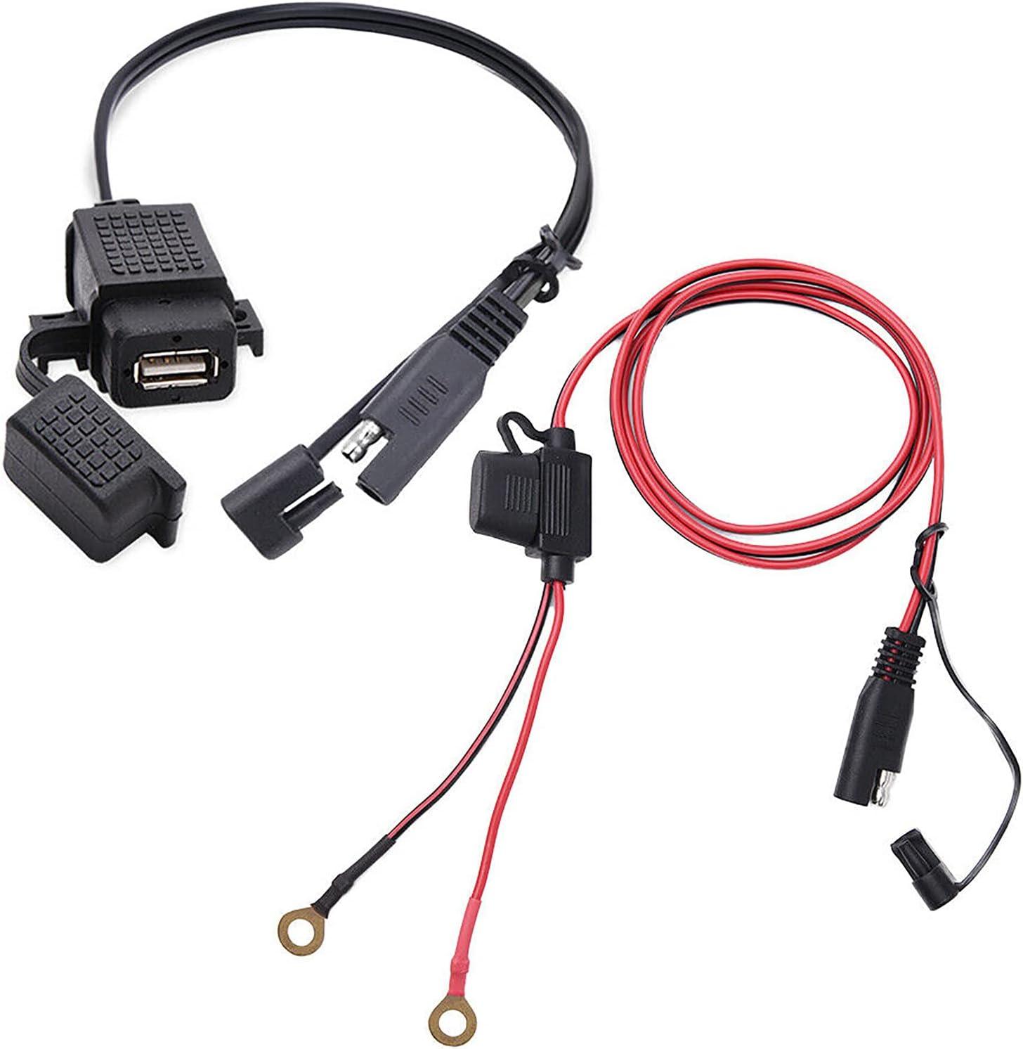 KOPOU DIY SAE A Adaptador de Cable USB Cargador USB Impermeable Y a Prueba de Polvo Puerto Rápido 2.1A con Fusible en Línea para Motocicleta Teléfono Móvil Tablet GPS