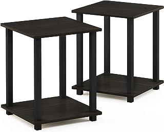 Furinno Simplistic 2-Pack eindtafel, bijzettafel, nachtkastje, Espresso/Zwart
